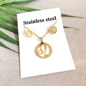 Zodiac Leo Sign Stainless Steel Necklace Earrings
